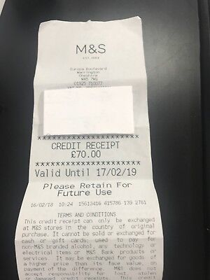 M&S £70.00 Marks and Spencer Credit Receipt - Gift Voucher / M&S (in-store use)