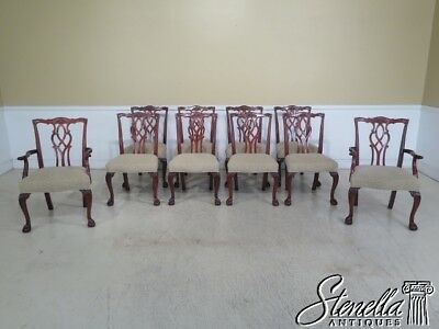 L44275EC: Set Of 10 KINDEL Clawfoot Chippendale Mahogany Dining Chairs