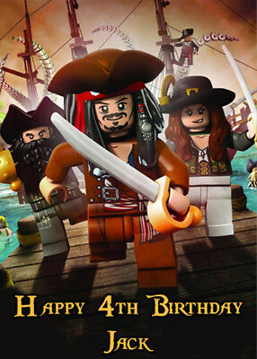 Lego Pirates of the Caribbean Personalised Birthday Card Add your own name & age