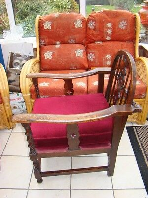 """antique wheelback chair unusual chair with removable bar at rear 33""""1/2"""" high"""