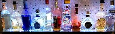 "40""MULTI-COLOR LED LIQUOR BOTTLE DISPLAY, CUSTOM BAR SHELF w/REMOTE"