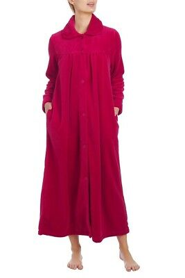 Ladies S-XXL Givoni (40) Buttons Premium Collar Dressing Gown Long Robe Berry