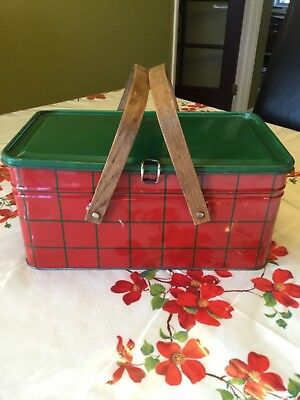 Red and green Plaid Tin Picnic Basket
