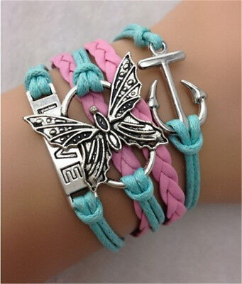 Jewelry Infinity Butterfly Anchor Love Shaped Wedding Charm Leather Bracelet