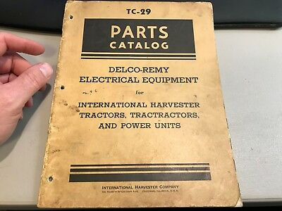 Vintage Delco Remy Tc-29 Parts Catalog International Harvester Tractors