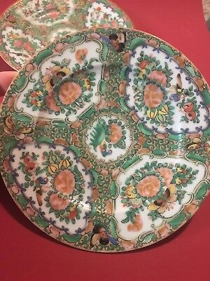 """Pair Antique Chinese Rose Medallion Porcelain Plates With Birds And Flowers 6"""""""