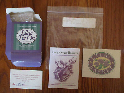 Longaberger May Series 1994 Lilac Basket - 2 Product Cards Tie On Box Liner Bag