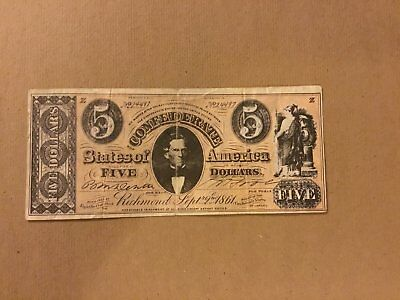 confederate money 5 dollar , Topps 1964 reproduction