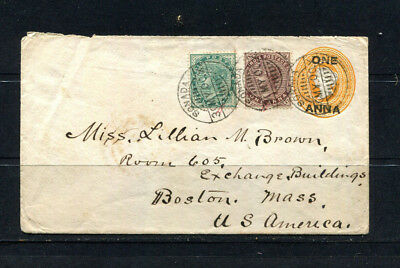 India Qv 1900 Rare Early Stamp Cover To Boston Usa   Lot 216