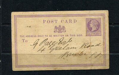 Gb Qv Early Pse Post Card Stamp Cover On Reverser Rare Printed Matter Lambeth