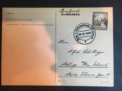 Germany Third Reich Cancelled Postcard Cover  1938