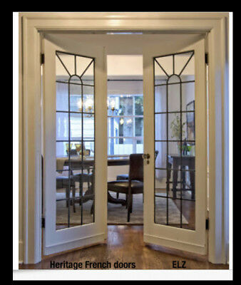 1 Set Heritage Lead glass French Doors pre-hung in Frame
