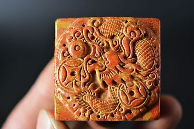 Unique Chinese old jade carved *dragon* Square seal   D51