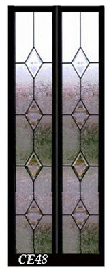 Lead glass 8 x 48 windows with Bevel Diamonds & Obscure art glass