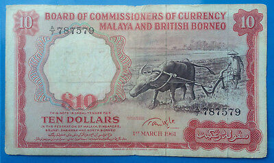 Red Hot & Rare ! Banknote Malaya & British Borneo 10$1961 see picture inside