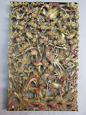 ANTIQUE 19c CHINESE GOLD DEEP RELIEF Gilt WOOD CARVED  PANEL Bird Flowers Deer's
