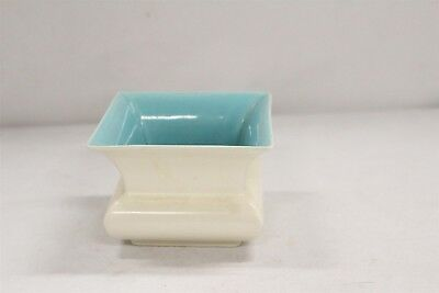 T CA Pottery Catalina Turquoise Interior Matte White Squared Cabinet Vase