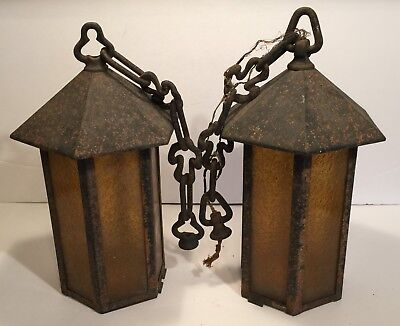 2 Vintage Metal And Glass Outdoor Light Fixtures  Possible Witchtop Restoration