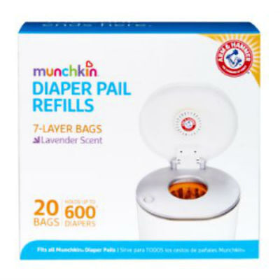 Munchkin Arm & Hammer Diaper Pail Snap, Seal and Toss Refill Bags, 20 Bags, Hold