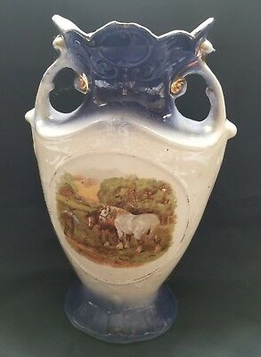 "Horses Signed Blue White Boy  2 Handle Vase England 11 1/2 "" t  transfer Antique"