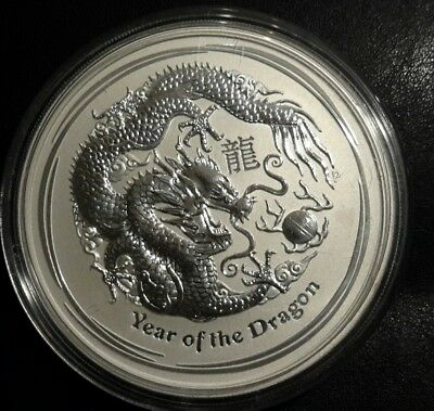 2012 Australia 5oz silver lunar year of the Dragon  BU. 999Ag coin