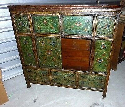 TIBETAN CABINET Painted Furniture Storage Chest Early-Mid 1900s 44l 16d 44h