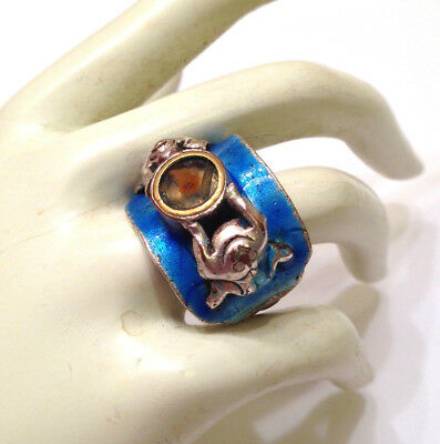 Estate Antique Asian Blue Enamel Frog Compass Ring- Very Rare and Unique