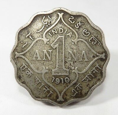 India-British Edward VII Copper-Nickel 1910-B 1 Anna VF/XF KM# 504 Real Pictures
