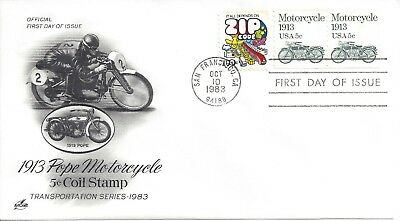 1983 USA 5c #1899 1913 Pope Motorcycle 5c Coil Stamp - FDC First Day Issue