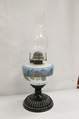 T 1800s Hand Painted Glass Oil Lamp Black Amethyst Base Flowers