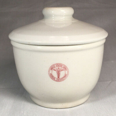 Heavy 1940s Vintage Army Medical Department Tepco China Lidded Ceramic Pot