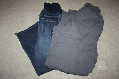 Lot of 2 Cropped Pants, Oh Baby by Motherhood, Size XL, Denim, Cargo