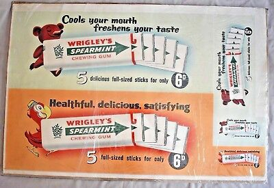 Rare Large 1950s Wrigleys Spearmint Chewing Gum Advertising Cardboard Sign