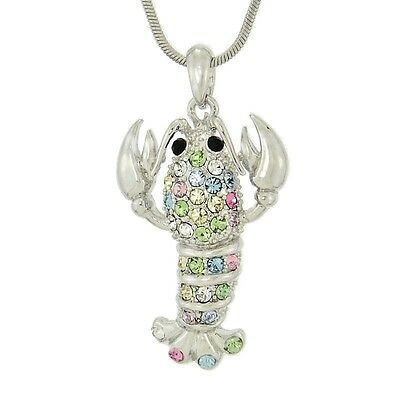 "Lobster Made With Swarovski Crystal Crawfish Ocean Multi Color Pendant 18"" Chain"