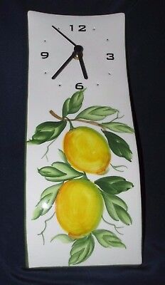 CLOCK Wall  Ceramic HANGING Lemons  Citrus Fruits Made in ITALY TESTED GWC 32CmL