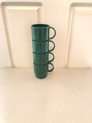 Tupperware Table Top Glossy Coffee Mugs - Set of 4 (in Heritage Green)