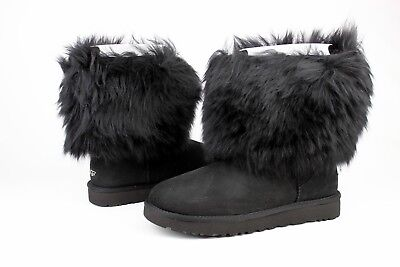 c1bb19d7cd8 Ugg Classic Short Sheepskin Cuff Black Boot With The Fur! Size 10 Us