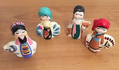 Vintage Figurines Girl Women Horse Sheep Peacock Hand Painted Shabby Chic Set 4