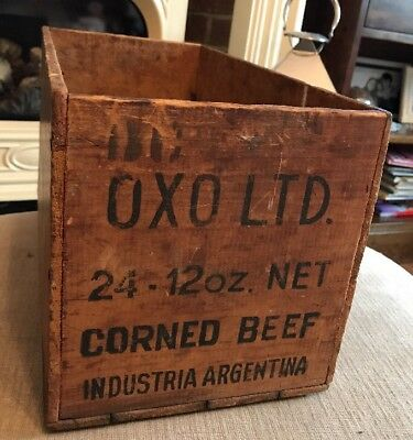Vintage Antique Advertising Crate OXO Shop Display Storage