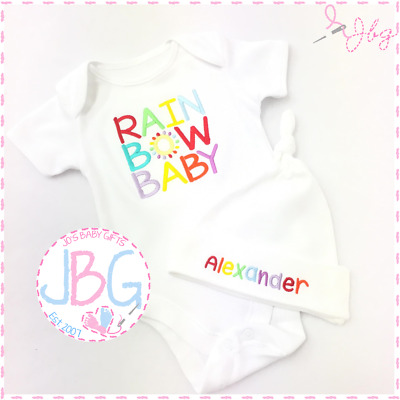 Personalised Rainbow Baby Vest & Hat Set, Baby Rainbow Clothes, Baby Shower Gift
