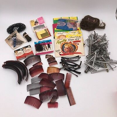 HUGE LOT of 1950's Vintage Hair Accessories - Pins, Clips, Nets, Human Hair Pc.