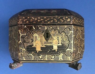 Antique Chinese Export Wood Lacquer Box Dragon Paw Feet Gold Detailing C. 1840