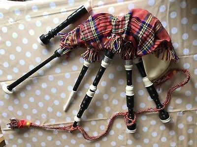 Small Set Of Bagpipes in Original Box with Instructional Leaflet