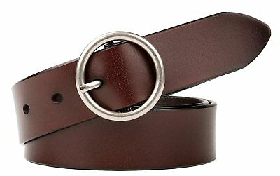 """Women Round Buckle Belts Genuine Leather Thin Fashion For Ladies Jeans 30""""-34"""