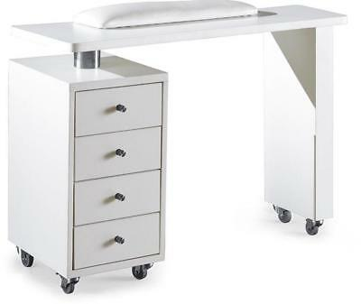New Manicure Polish Nail Technician Table Desk White Drawers Cabinets Wheels AUS