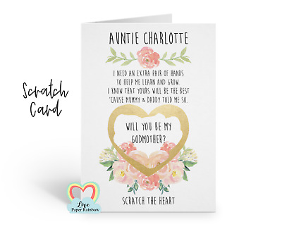 will you be my godmother scratch card, godfather, godparents, proposal, floral