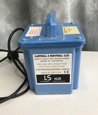Safety Isolating Transformer 230V 50Hz 1.5KVa - 1000VA cont. Double Socket