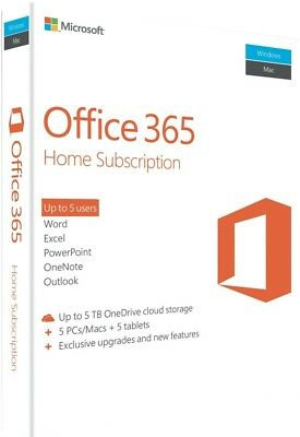Microsoft Office 365 Home Subscription for 5 Devices (PC/Mac/Android/IOS)