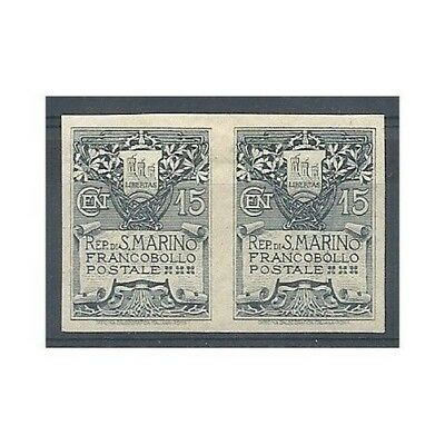 1907 San Marino C Coat Of Arms 15 Imperforated In Pair New Mf0142