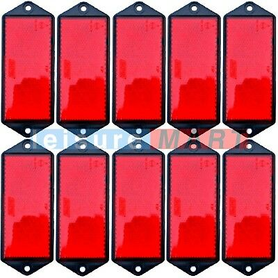 Trailer and truck reflectors rectangular red screw on set of 10